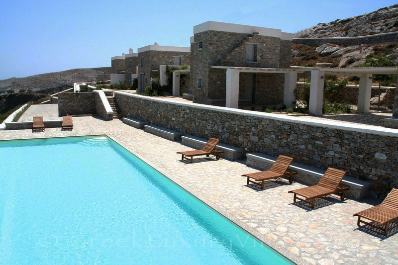 Sea view of seafront villas with pool on Folegandros