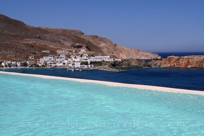 View of the port at sea front villas on Folegandros