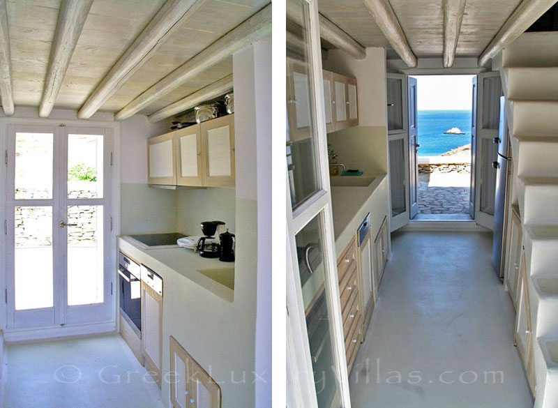 Kitchen of seafront villa with pool on Folegandros