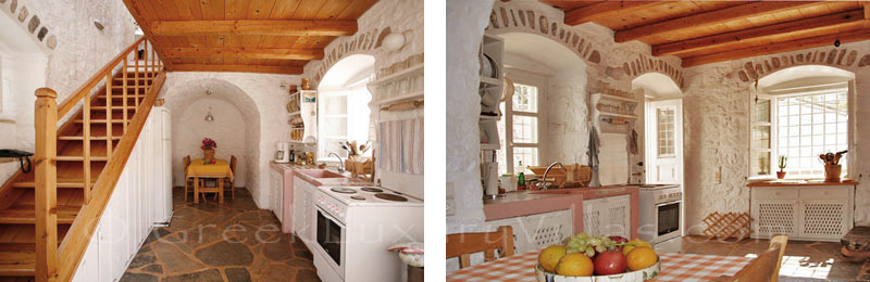 The kitchen of a romantic traditional house in Hydra