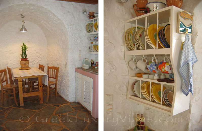 The kitchen in a romantic traditional house in Hydra