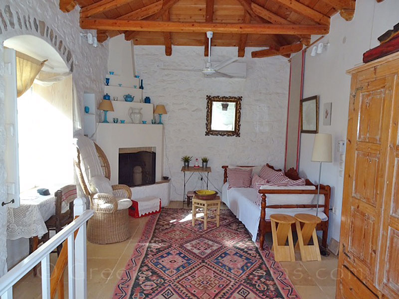 The living-room of a romantic traditional house in Hydra