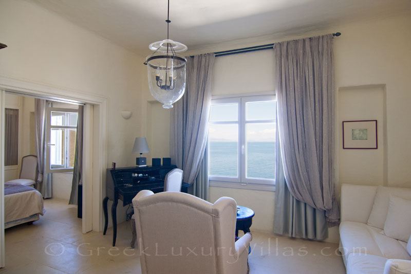 master suite with sea view in luxury villa on Kea
