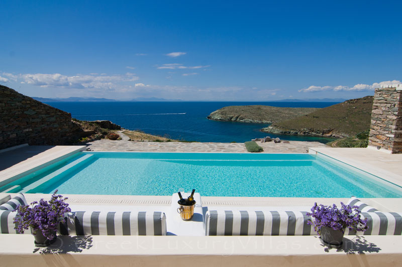 sea view luxury villa with pool and sandy beach