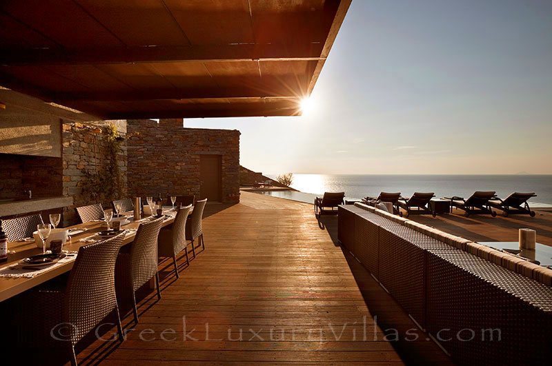 Dining area and sea view of big luxury villa on Kea