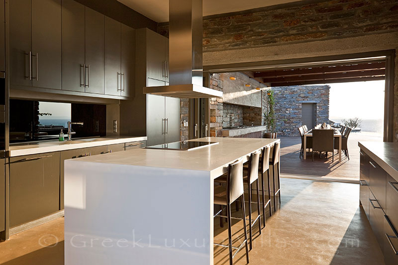 Kitchen of big super luxury villa on Kea
