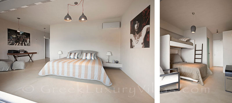 Bedroom of super luxury villa by the beach in Tzia