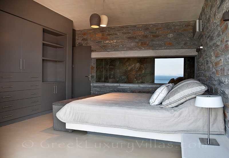 Bedroom of super luxury villa by the beach in Kea