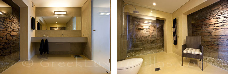 Bathroom of big luxury villa with pool on Tzia