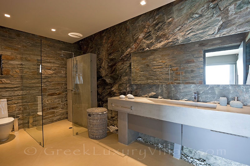 Bathroom of big luxury villa with pool on Kea