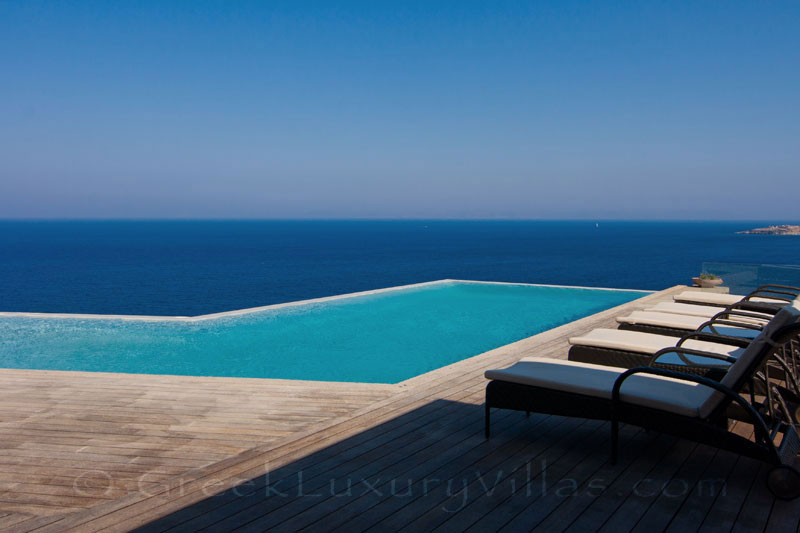 Sea view of big luxury villa by the beach on Kea