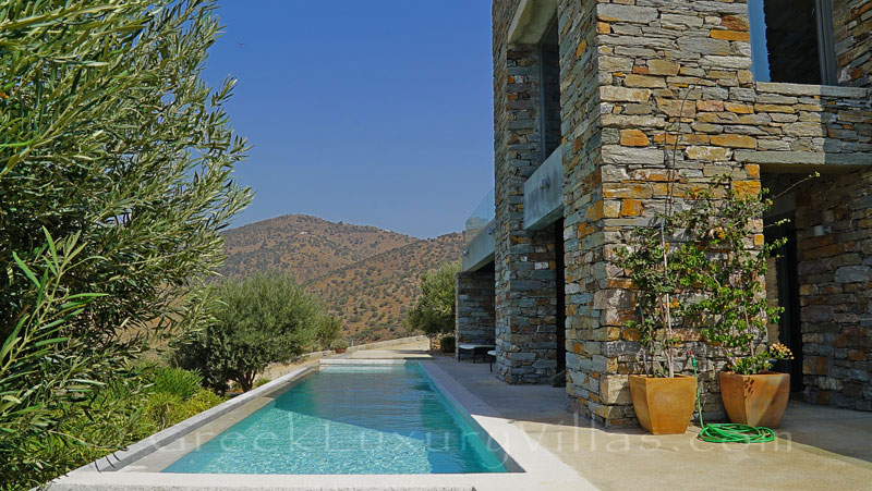 Lap pool of super luxury villa by the beach on Kea