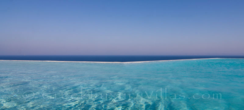 Sea view and pool of big luxury villa on Kea