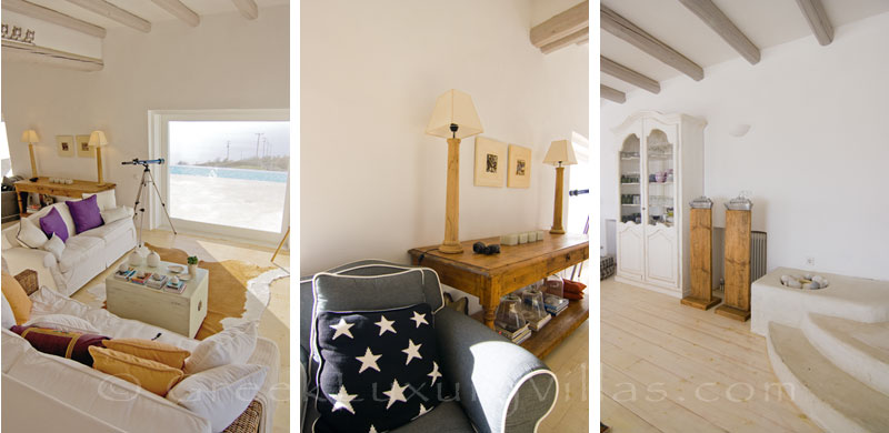 The living-room in a luxurious villa with a big pool on Kea