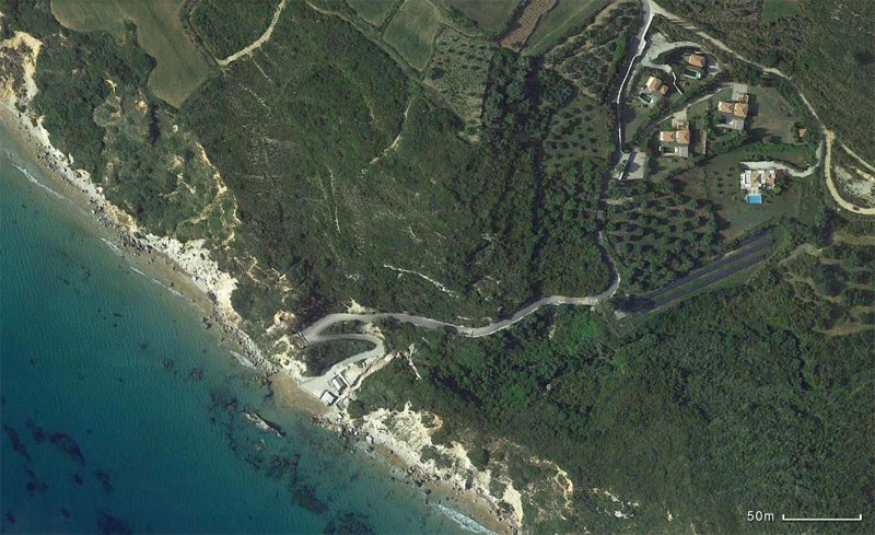 The location of the beach near the modern, two-bedroom villa in Kefalonia