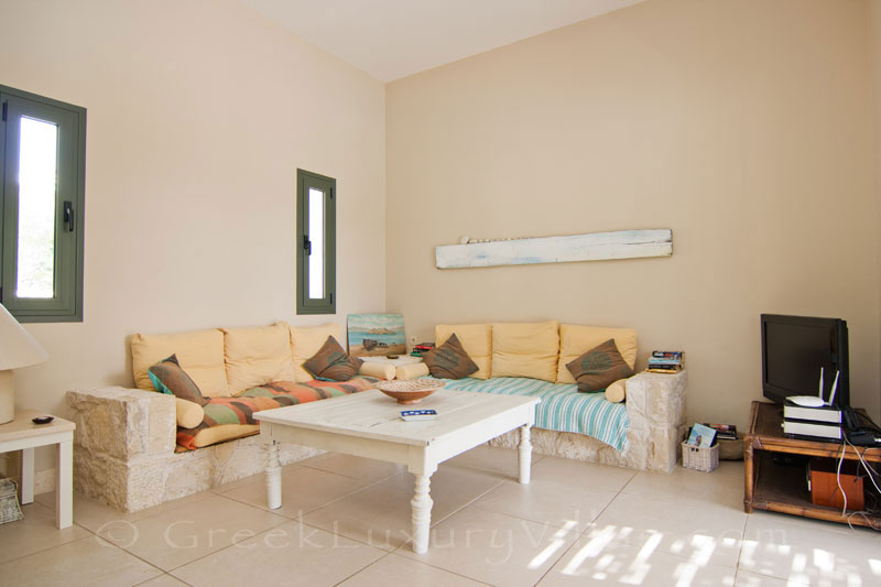 The lounge of a two bedroom modern villa near the beach in Kefalonia