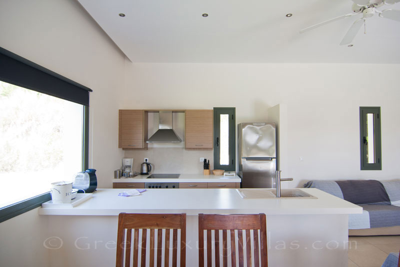 Open plan kitchen of a modern, three bedroom villa in Kefalonia