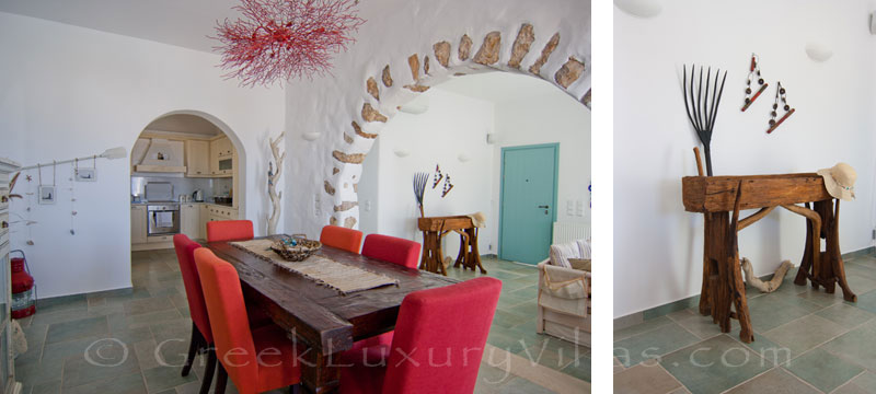 Dining area of luxury villa with pool in Koufonisi
