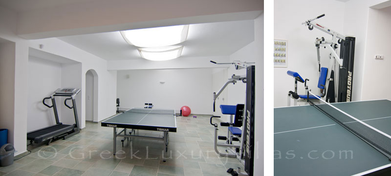 Gym and table tennis of luxury villa with pool in Koufonisi