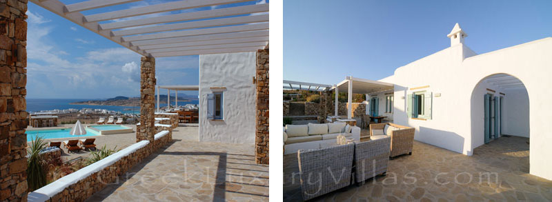 Sea view from the veranda of luxury villa with pool in Koufonisi