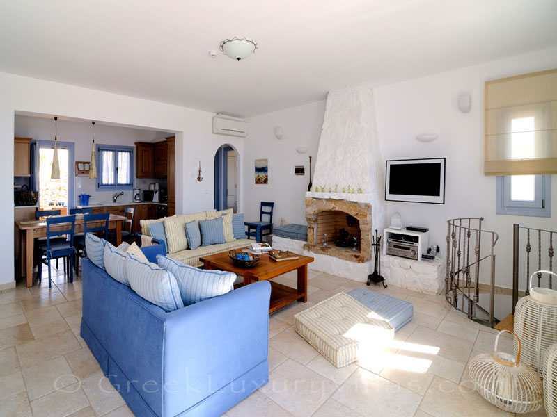 Living room of luxury villa with pool on Koufonisi