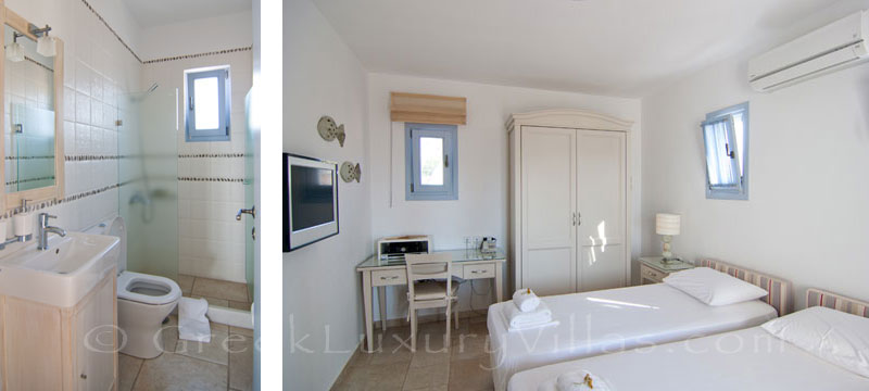 Twin room of luxury villa with pool on Koufonisi
