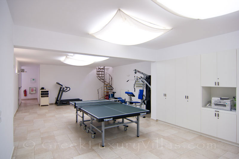 Gym and table tennis of luxury villa with pool on Koufonisi