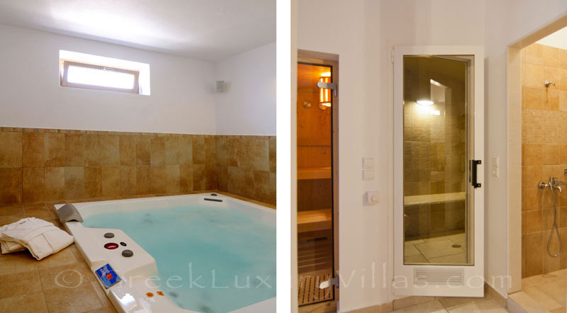 Sauna and steam bath of luxury villa with pool in Koufonisi
