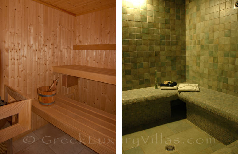 Sauna and hammam of luxury villa with pool on Koufonisi