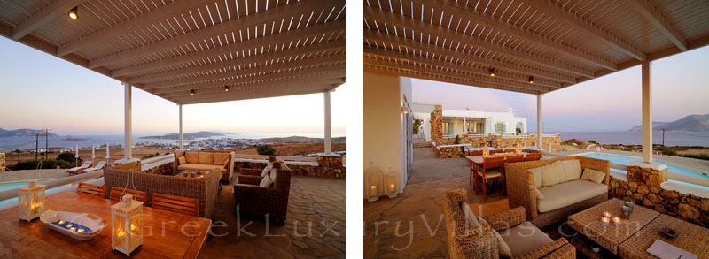 Outdoor dining area of luxury villa with pool in Koufonisi