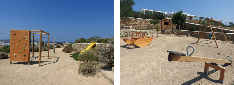 Outdoor playground of luxury villa with pool on Koufonisi
