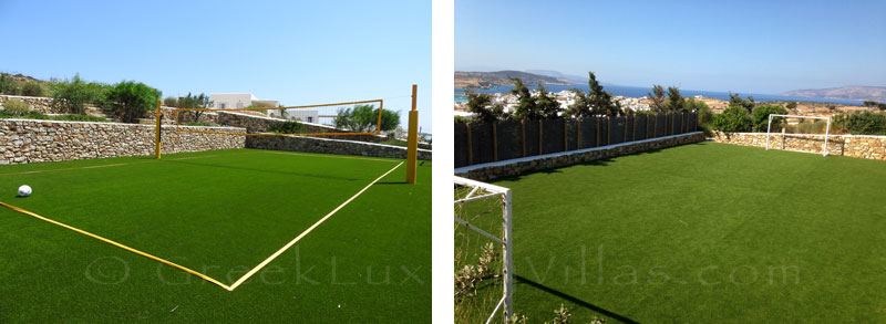 Volleyball and football courts of luxury villa with pool in Koufonisi