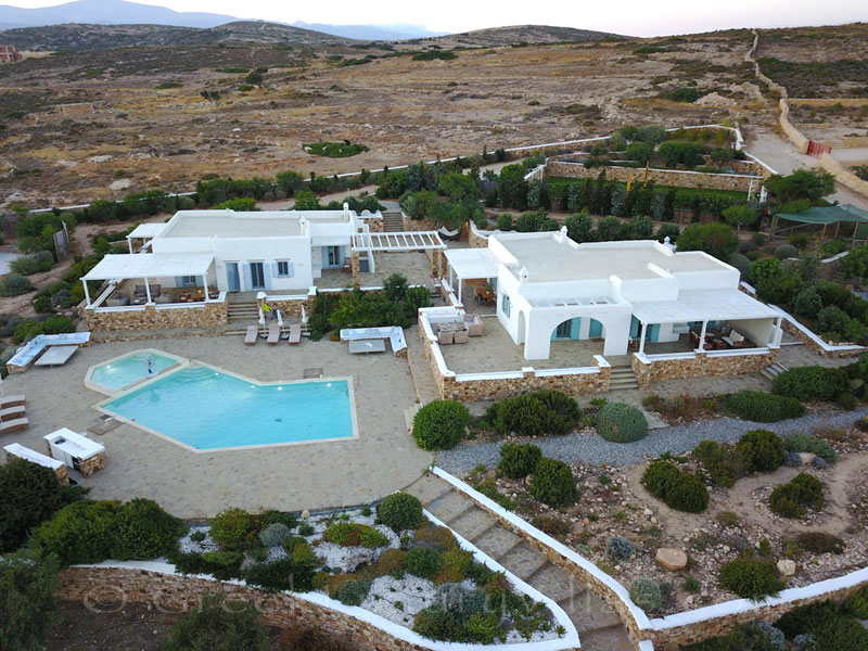 Aerial photo of luxury villa with pool on Koufonisi