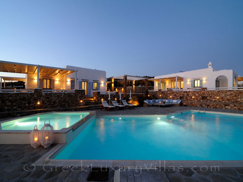 Night atmosphere of luxury villa with pool in Koufonisi