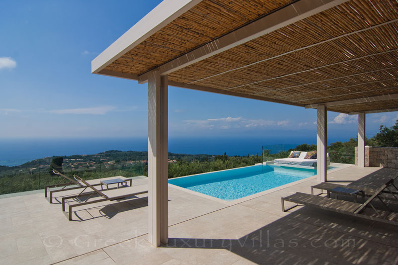 Seaview from the pool of a luxurious villa in Lefkas
