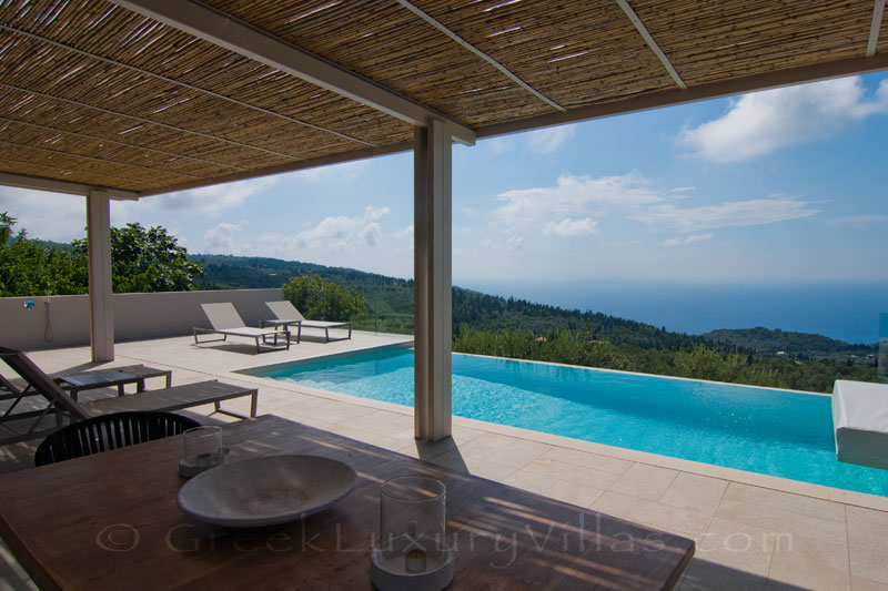 Seaview from the infinity pool in a luxurious villa in Lefkas