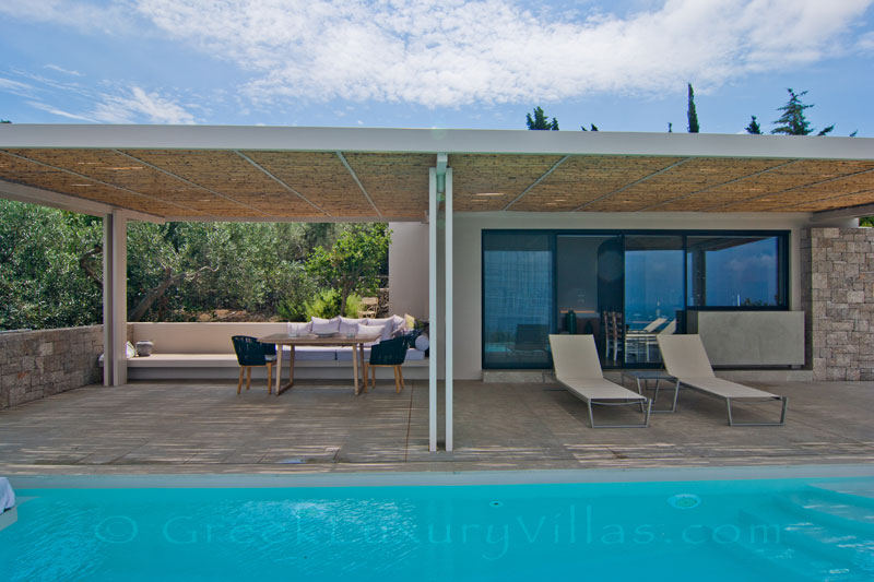 The seaview from the outdoor lounge by the pool of a modern villa in Lefkas