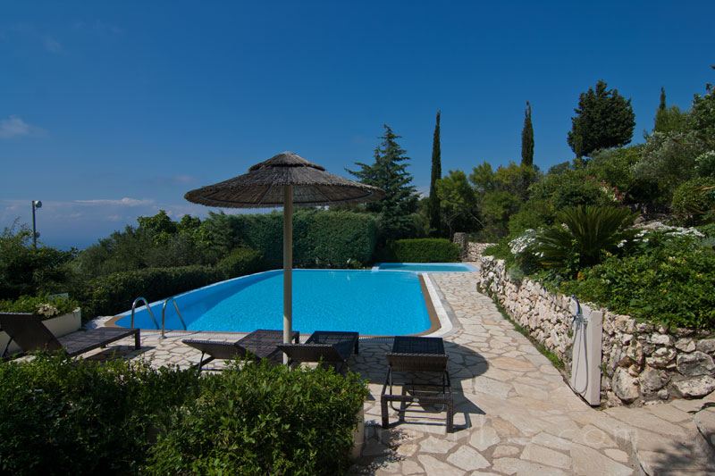Large private kids pool with seaview in Lefkas villa