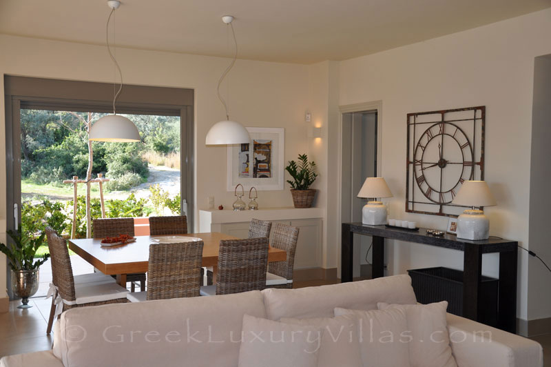 The living room in the modern luxury villa with a pool in Lefkada