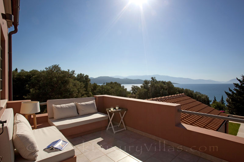 The seaview from a veranda of a modern luxury villa with a pool in Lefkas