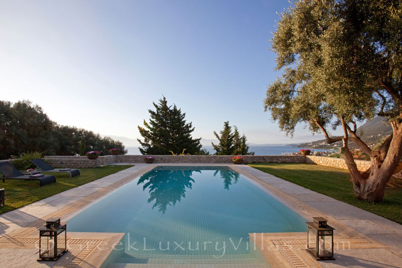 Seaview from a modern luxury villa with a pool in Lefkada