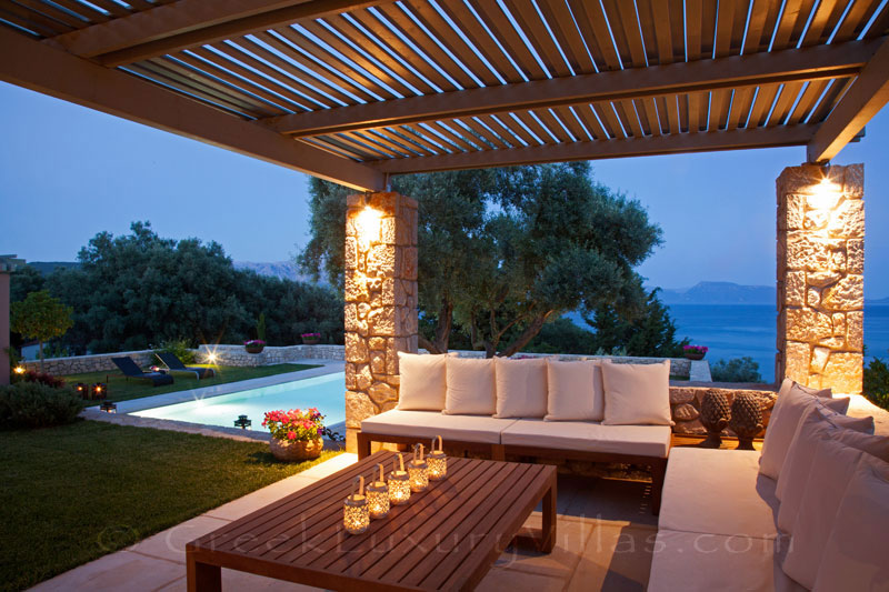 A lounge with seaview at a modern luxury villa with a pool in Lefkas