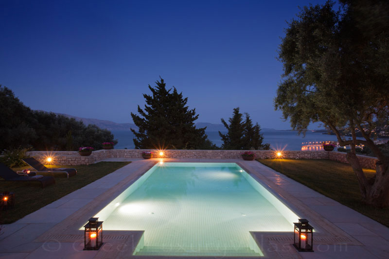 A luxury villa in Lefkada with a pool and seaview
