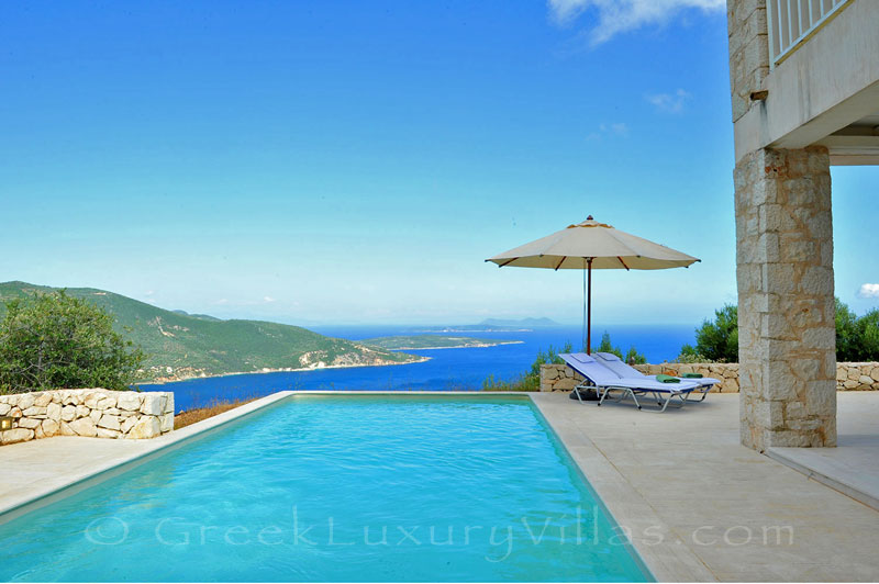 A luxury villa with a pool that sleeps six people and has great seaview in Lefkada