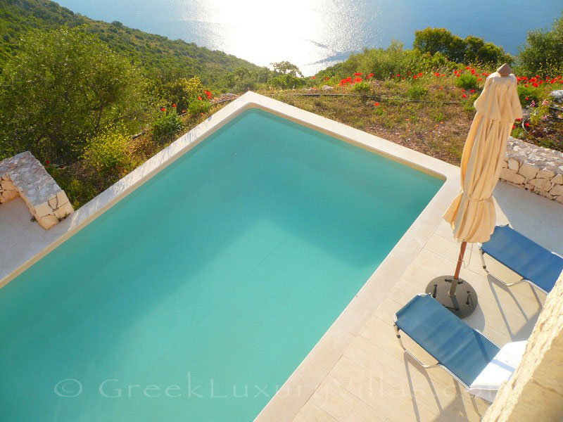 The seafront from a luxury villa with a pool in Lefkas which sleeps six people