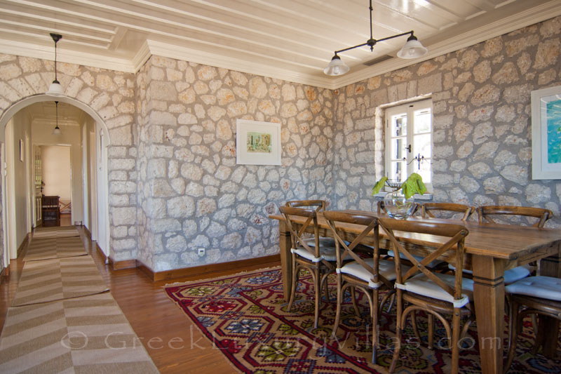 Living-room of traditional villa with pool in Lefkada