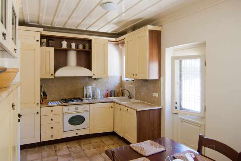 Kitchen of traditional villa with pool on Lefkada