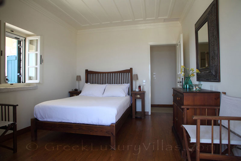 Bedroom of traditional villa with pool in Lefkas