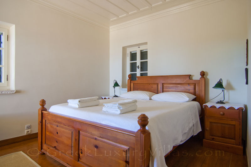 Double bedroom of traditional villa with sea view on Lefkada
