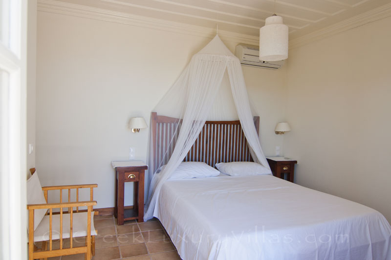 Bedroom of traditional villa with pool in Lefkada
